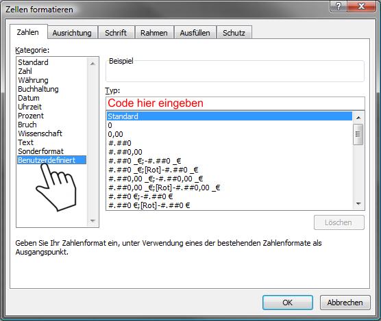Excel Benutzerdefiniertes Zahlenformat - Reiter