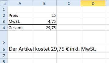 Excel Text Funktion - Beispiel