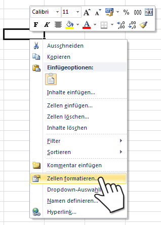Excel Benutzerdefiniertes Zahlenformat - Menü