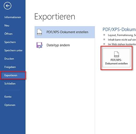 Word in PDF - Exportieren