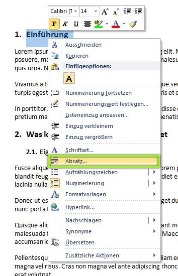 Word Inhaltsverzeichnis erstellen - Kontextmenü-Absatz