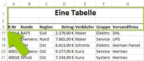 Excel - Mehrere Zeilen fixieren - Nach dem Scrollen