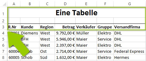 Excel - Mehrere Zeilen fixieren - Vor dem Scrollen