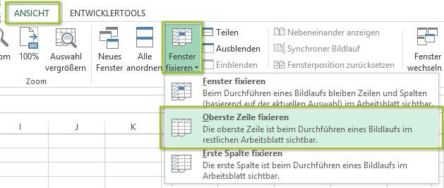 Excel zeile fixieren bzw einfrieren eine oder mehrere for Xls fenster fixieren