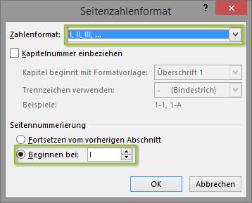 Word - Römische Seitenzahlen