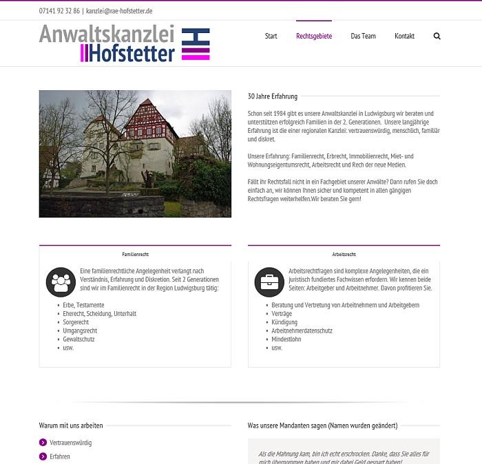Anwaltskanzlei Hofstetter - Rechtsgebiete
