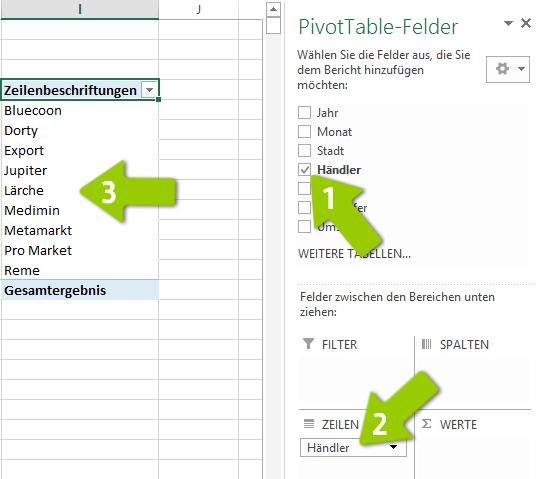 Pivot-Tabelle - Mit Feldern