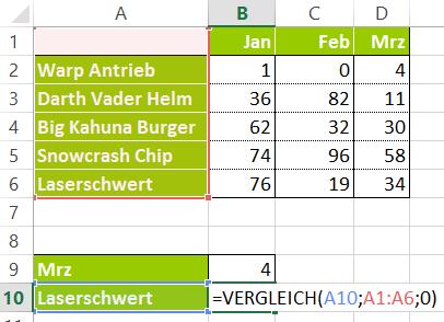 Excel - Vergleich-Funktion - Zeilen
