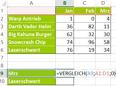 Excel - Vergleich-Funktion - Spalten