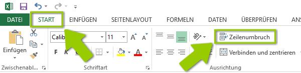 Excel Zeilenumbruch - L