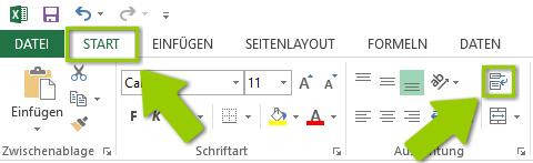 Excel Zeilenumbruch