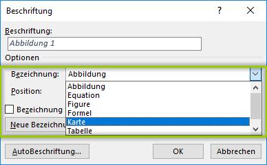 Word Abbildungsverzeichnis - Beschriftung auswählen