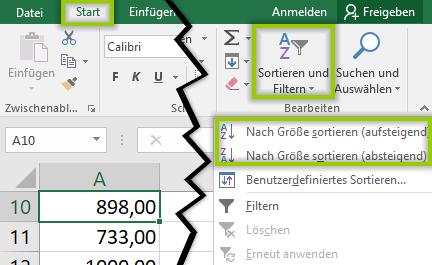 Excel sortieren - Zahlen