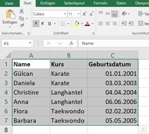 Excel sortieren - Spalten