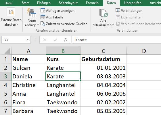 Beispiel: Teilnehmerliste Geburtsdatum geordnet