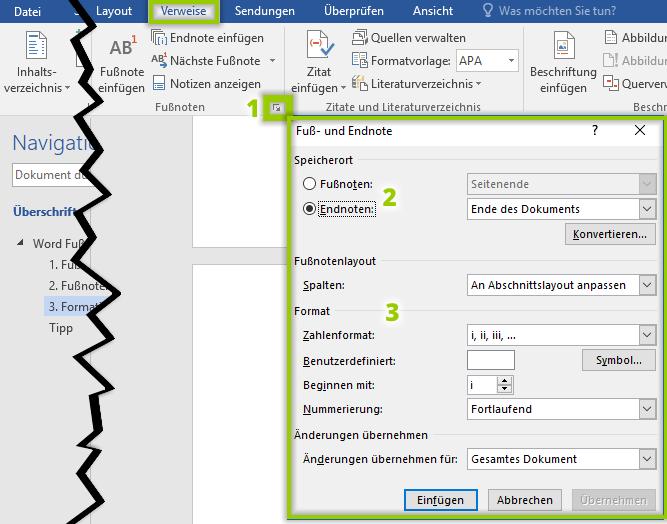 Word - Formatierung Fußnoten Endnoten