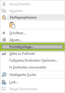 Word - Formatierung Fußnoten- und Endnotentext