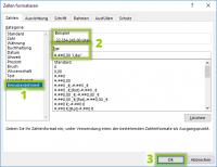 Excel benutzerdefiniertes Zahlenformat - Code