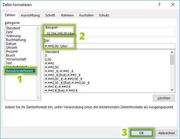 Excel - Benutzerdefiniertes Zahlenformat einrichten (für Einheiten z.B.)