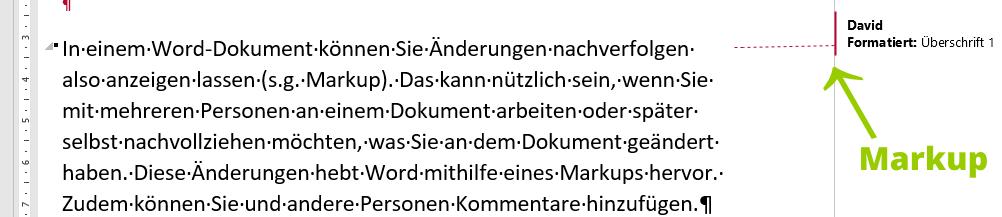 Beispiel für Word Markup