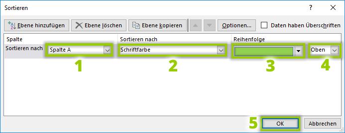 """Fenster """"Sortieren in Excel"""""""