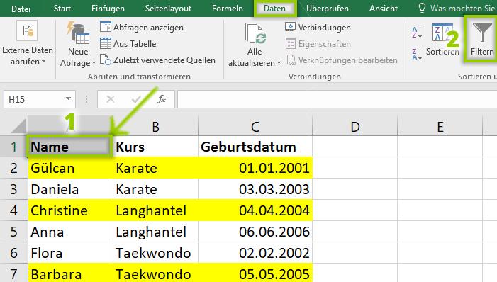 Autofilter beim Excel Filtern