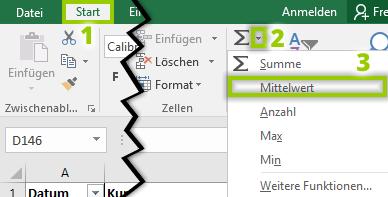 Excel Mittelwert - Autosummezeichen