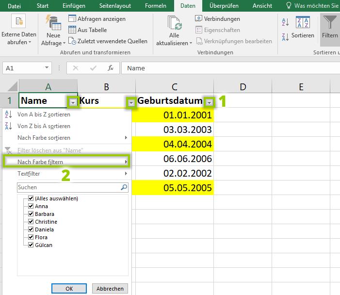 Excel Filtern Auswahlpfeile