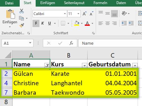 Ergebnis nach dem Excel Filtern