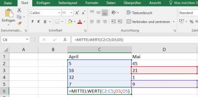 Excel Mittelwert - Beispielfunktion mit mehreren Bereichen