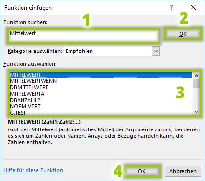 Funktion für Excel Mittelwert einfügen