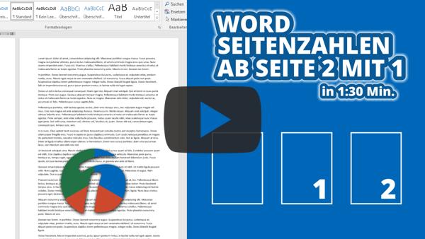 Word Seitenzahlen ab 2 mit 1 - Beitrag als Video
