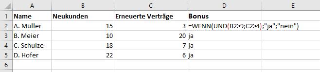 Excel UND - Wahr / Falsch