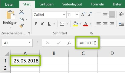 Excel - Heute Funktion